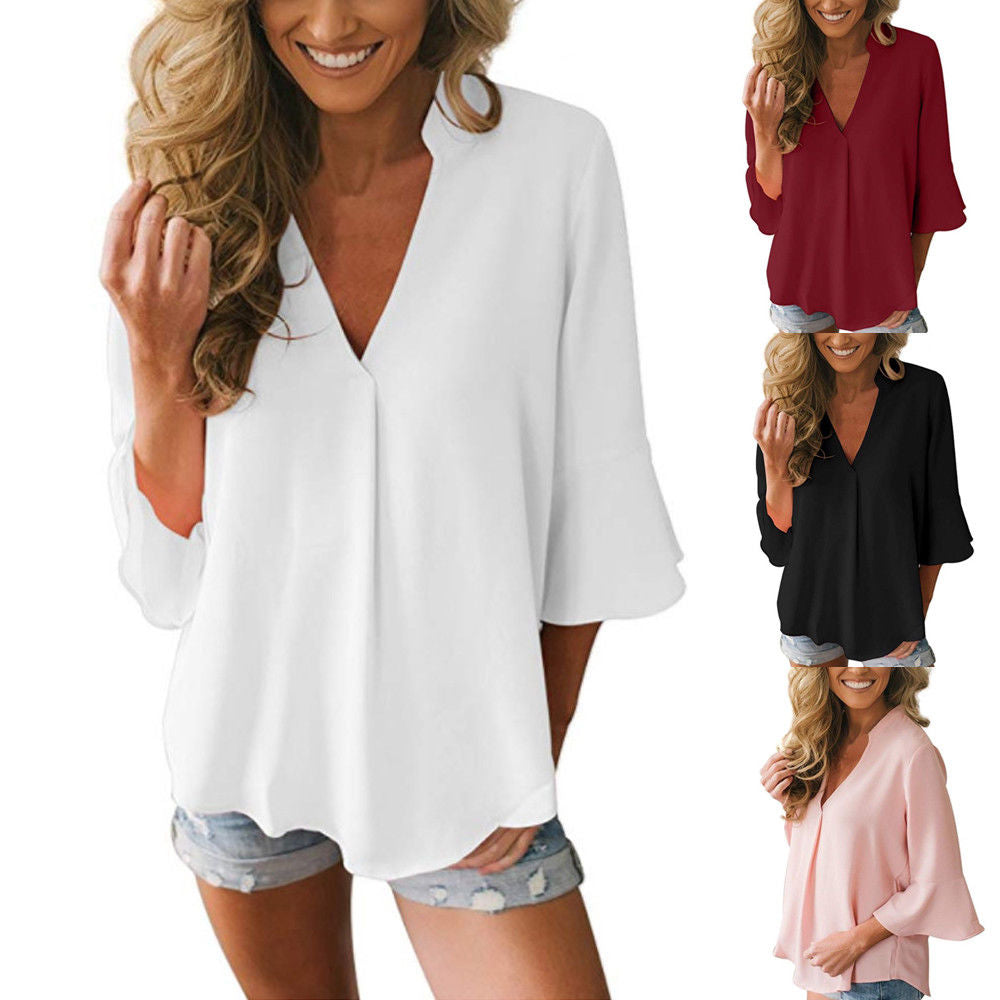 Women Summer Chiffon Flare 3/4 Sleeve Tops V Neck Loose Casual T Shirt Blouse | Edlpe