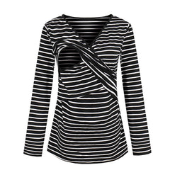 Women Striped Breastfeeding Tops Multifunctional Nursing Long Sleeve T-shirts