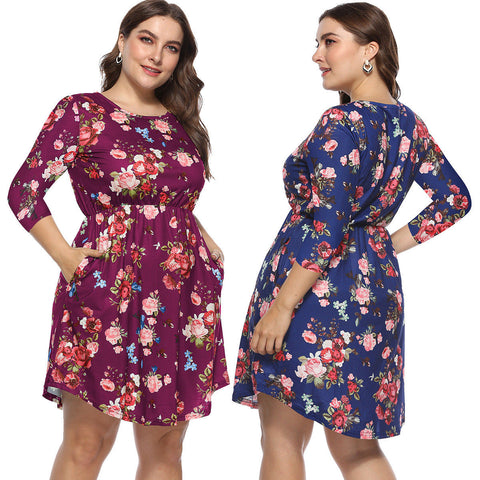 Womens Plus Size Floral Long Sleeve Midi Dress Party Evening Dress | Edlpe