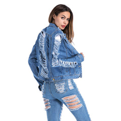 Plus Size Womens Ripped Jeans Denim Jacket Casual Open Coat Cardigan Outwear | Edlpe
