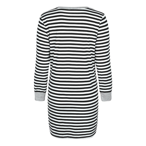 Women Pregnancy Maternity Nursing Dress Striped Long Sleeve Breastfeeding Dress | Edlpe