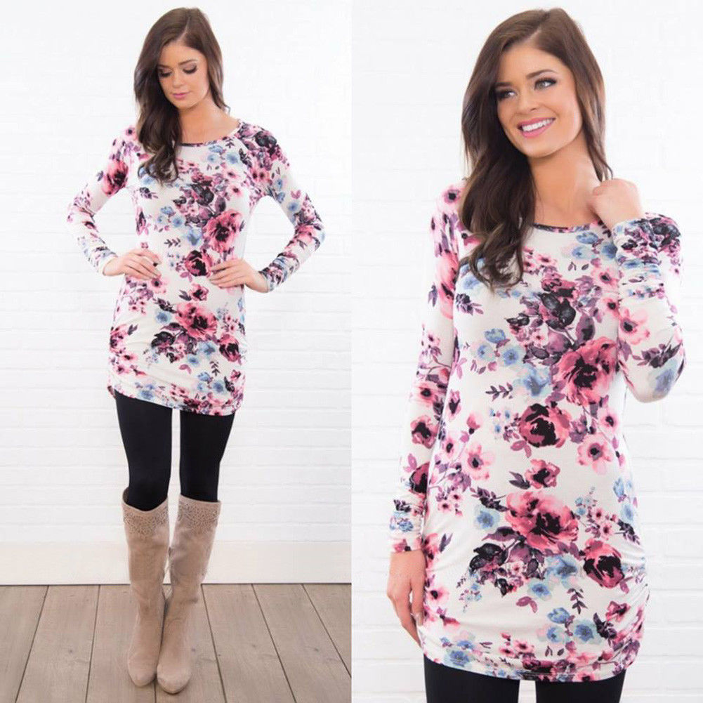 Women Floral Long Sleeve Long Top Blouse Ladies Slim Fitness Casual Top Shirt | Edlpe