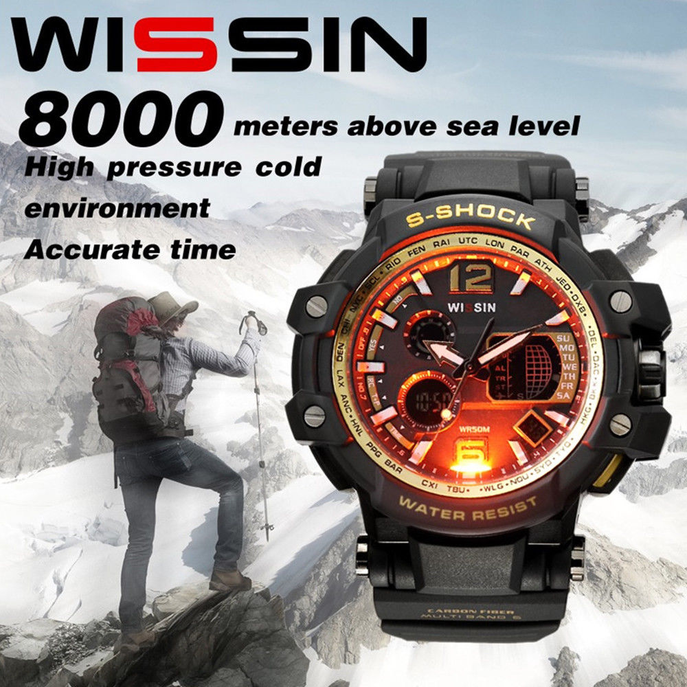 Fashion Men Waterproof Military Watch Sport Quartz Wrist Analog Digital Silicone Watches | Edlpe