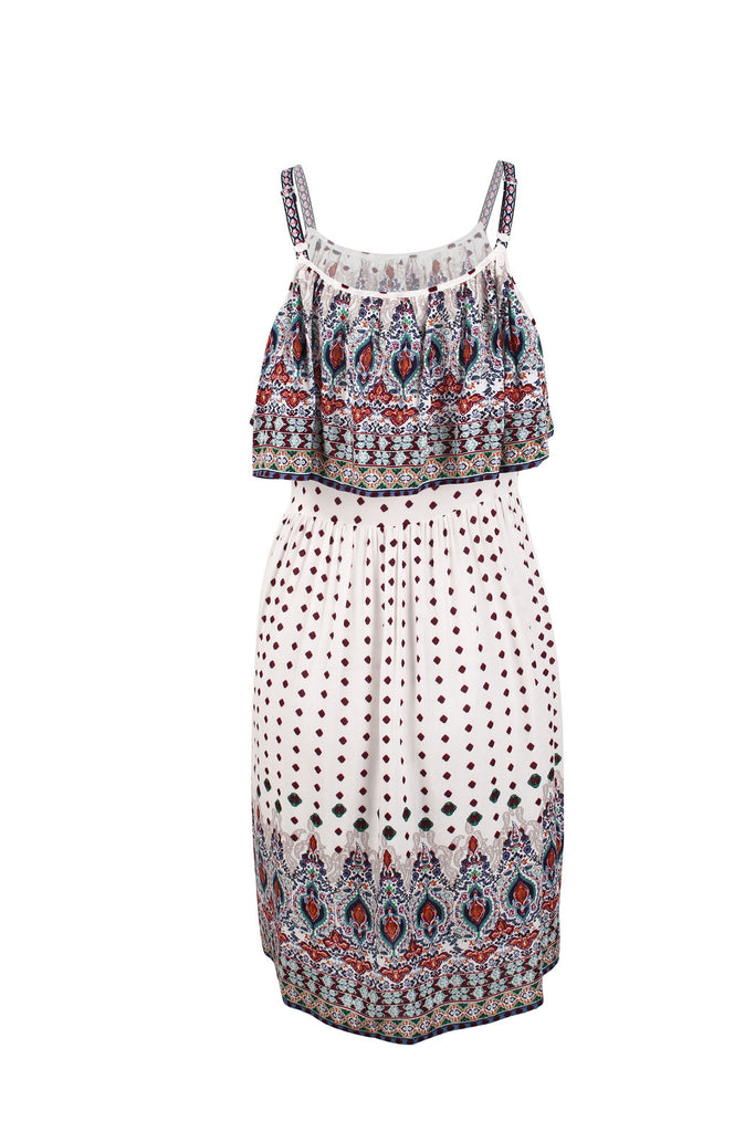 Boho Women High Waist Floral Printed Strap Dress Holiday Beach Casual Mini Cami Dress | Edlpe