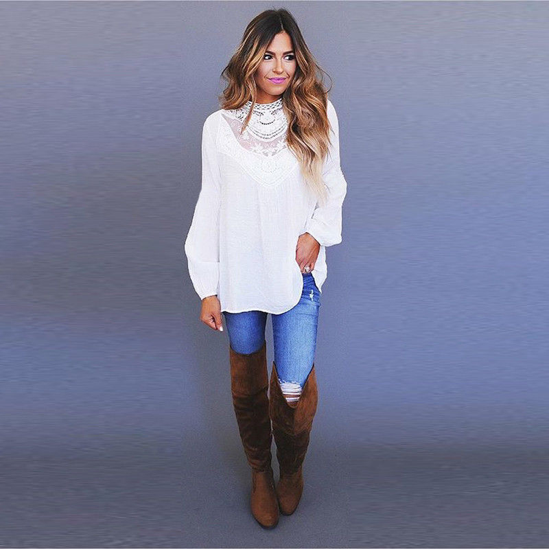 Women Long Sleeve Lace Casual T Shirt Ladies Summer Loose Tops Blouse Ol Shirt | Edlpe