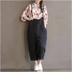 Plus Size Women Dungaree Overall Pants Casual Loose Strap Pocket Casual Trousers | Edlpe