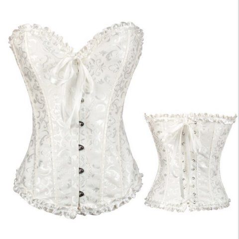 Womens Bridal Boned Brocade Corset Waist Training Bustier Fancy Dress Plus Size | Edlpe