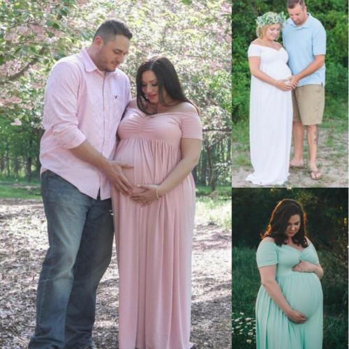 Pregnant Women Off Shoulder Long Maxi Dress Maternity Gown Photography Prop | Edlpe