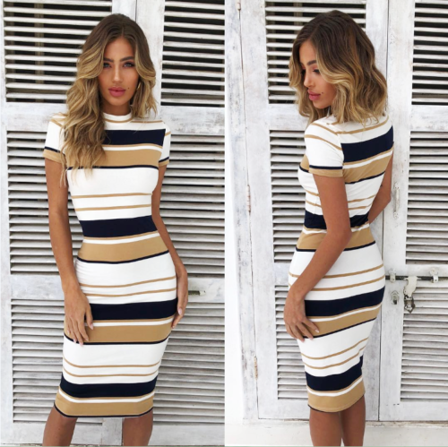 Summer Women Short Sleeve Striped Bodycon Ladies Casual Slim Fit Midi Dress | Edlpe