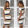 Image of Summer Women Short Sleeve Striped Bodycon Ladies Casual Slim Fit Midi Dress | Edlpe