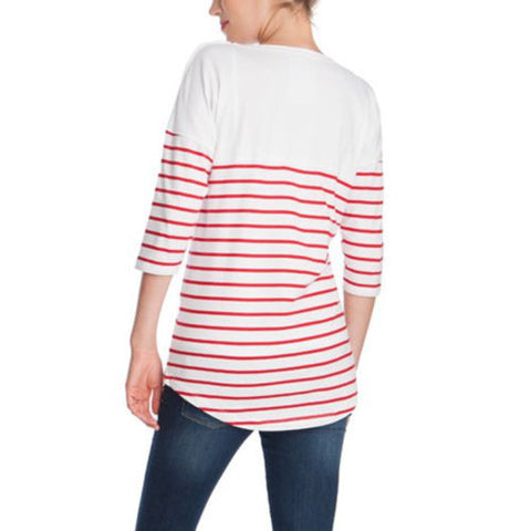 Casual Stripe Maternity Midi Sleeves Side Button Nursing T-Shirt Top | Edlpe