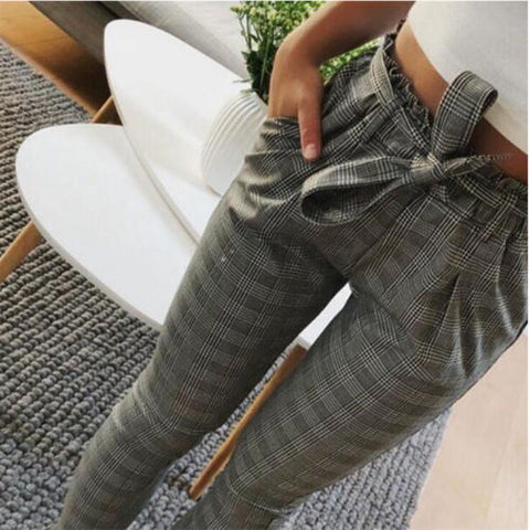 Womens High Waist Paperbag Cigaratte Striped Trousers Ladies Long Pants Size | Edlpe