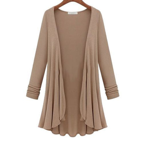 Plus Size Women Long Sleeve Swing Cardigan Casual Slim Fit Long Coat Outwear | Edlpe