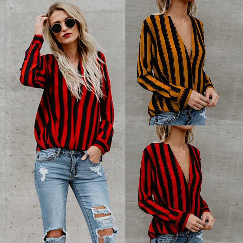 Fashion Women Long Sleeve V Neck Shirt Ladies Striped Casual Loose Blouse Tops | Edlpe