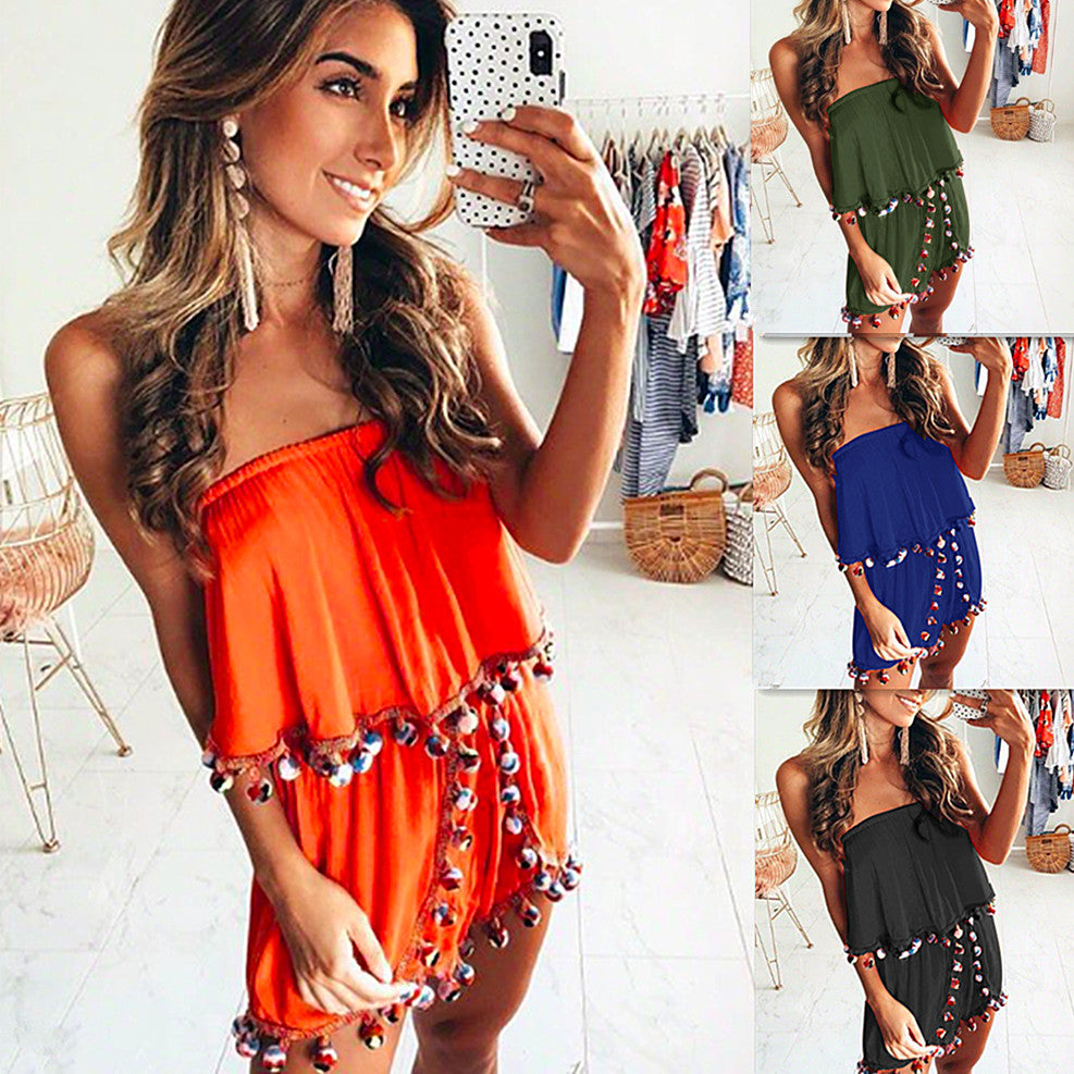 Womens Boho Strapless Jumpsuit Mini Playsuit Ladies Tops Summer Beach Shorts Sundress | Edlpe