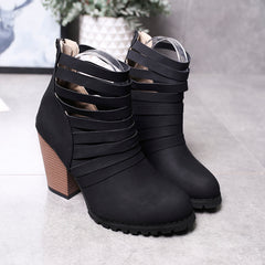 Women Fashion Hollow Ankle Boots High Chunky Heel Round Toe Back Zipper Casual Shoes Short Bootie
