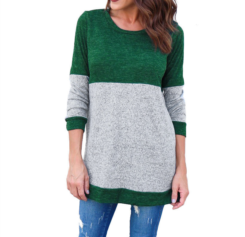Women Long Sleeve Sweater Patchwork Pullover Tops Loose Blouse Jumper | Edlpe