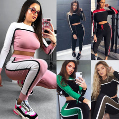 Fashion Women Long Sleeve Striped Crop Top+Pants Casual Sport Suits Sportwear Gym Suit