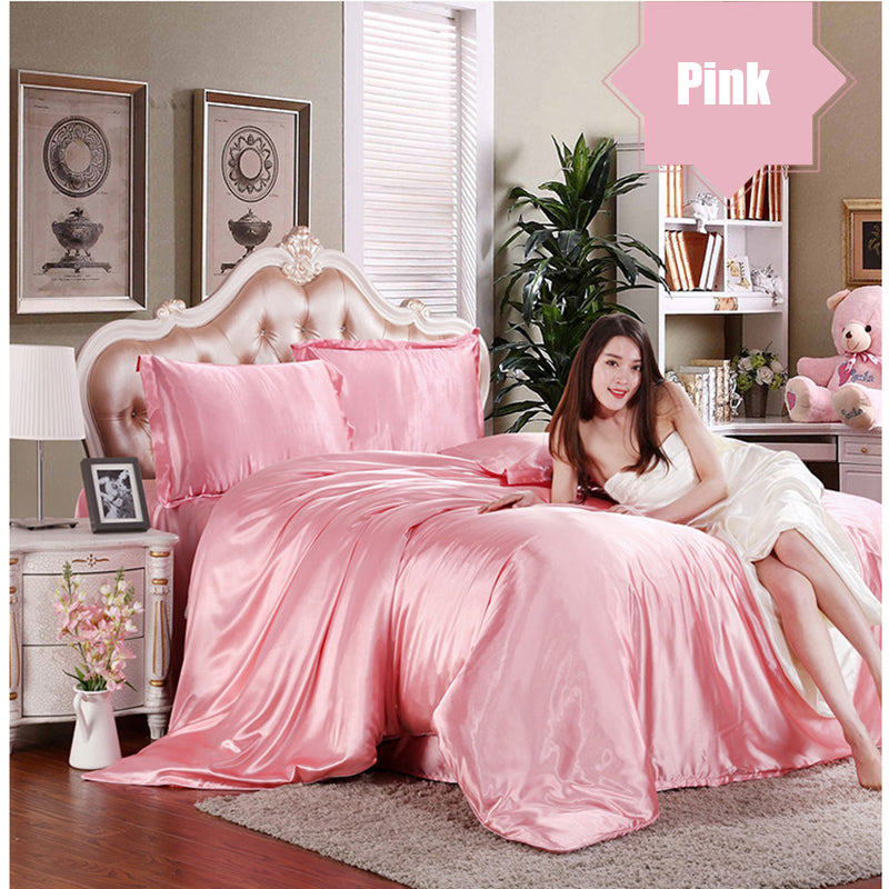 Satin Silk Bedding Set 3/4 Pcs Bed Set Duvet Cover Flat Sheet Pillowcase Twin Double Full Queen King | Edlpe