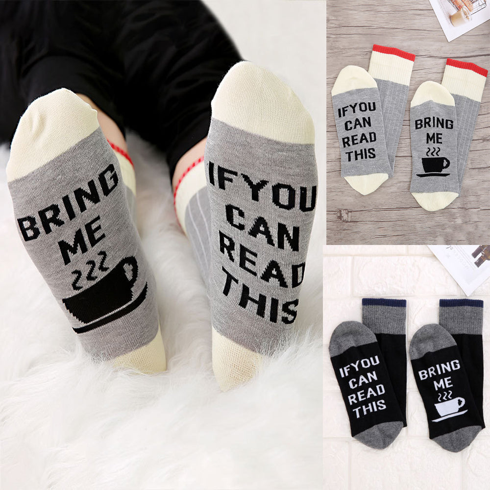 Personalised Women Men Socks If You Can Read This Bring Me Red&grey Funny Socks Unisex Socks | Edlpe