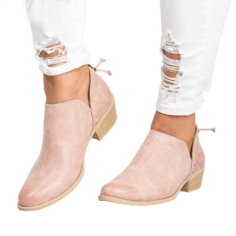Fashion Women Pu Leather Low Heel Ankle Boots Casual Slip On Sandals Flats Shoes | Edlpe