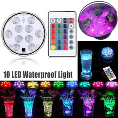 RGB LED Underwater Light Remote control Pond Submersible IP68 Waterproof 16colors/10LEDs 5050SMD