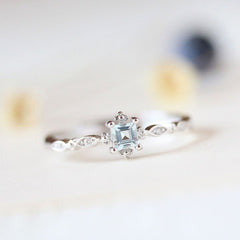 Women Ladies Sea Blue Jewelry Gem Rings Wedding Fashion Anniversary Gift