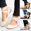 Image of Summer Women Ankle Strap Zipper Ballerina Sandals Elastic Cross Strap Lace Up Flats Casual Shoes | Edlpe