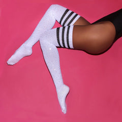Women Sexy Diamond Thigh High Long Stockings Knit Over Knee Girls Cotton Socks