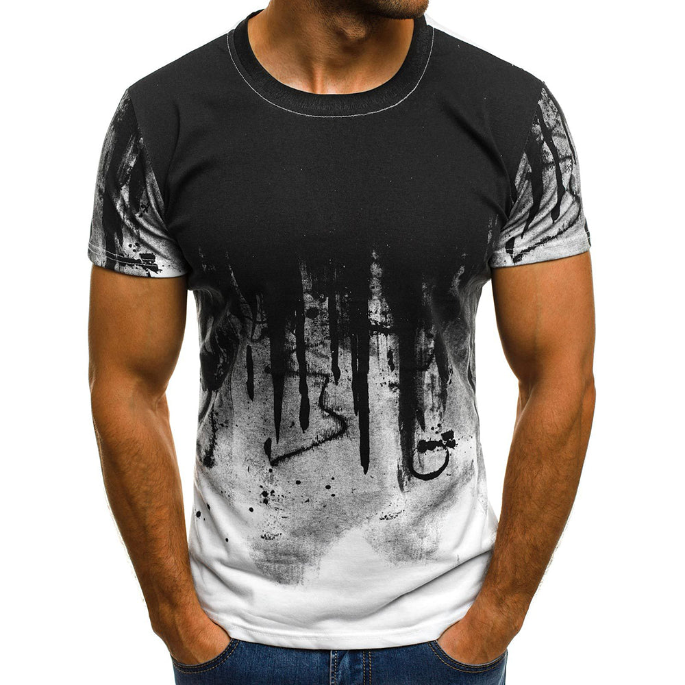 Fashion Mens Summer Short Sleeve Crew Neck Print T-Shirt Slim Fit Muscle Gym Casual Tee Tops | Edlpe