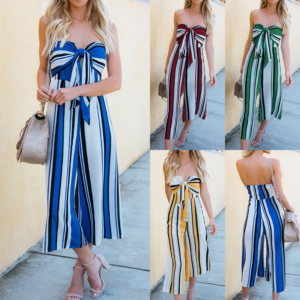 Women Strapless Stripe Bandage Front Wide Leg Summer Party Playsuit Rompers Jumpsuit | Edlpe
