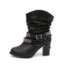 Image of Women Fashion Mid Calf Boots With Circle Straps Design Ankle Boots Rivet Rhinestone Boots | Edlpe