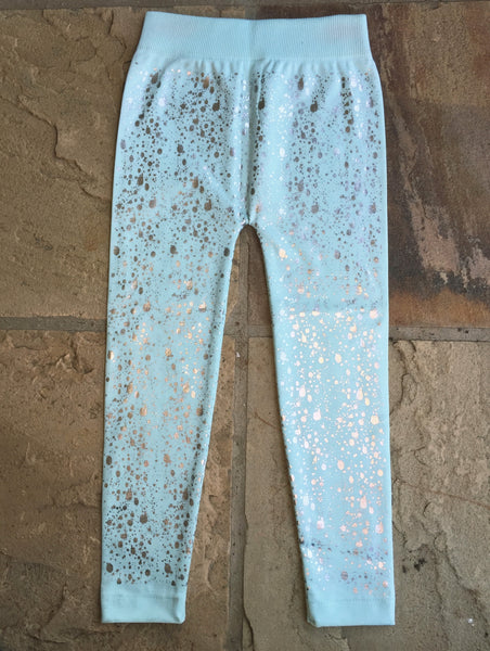 Kiddies Mint Silver-Speckled Winter Leggings