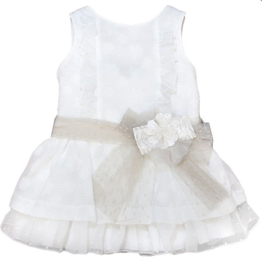 Little white dress with flower waist tie