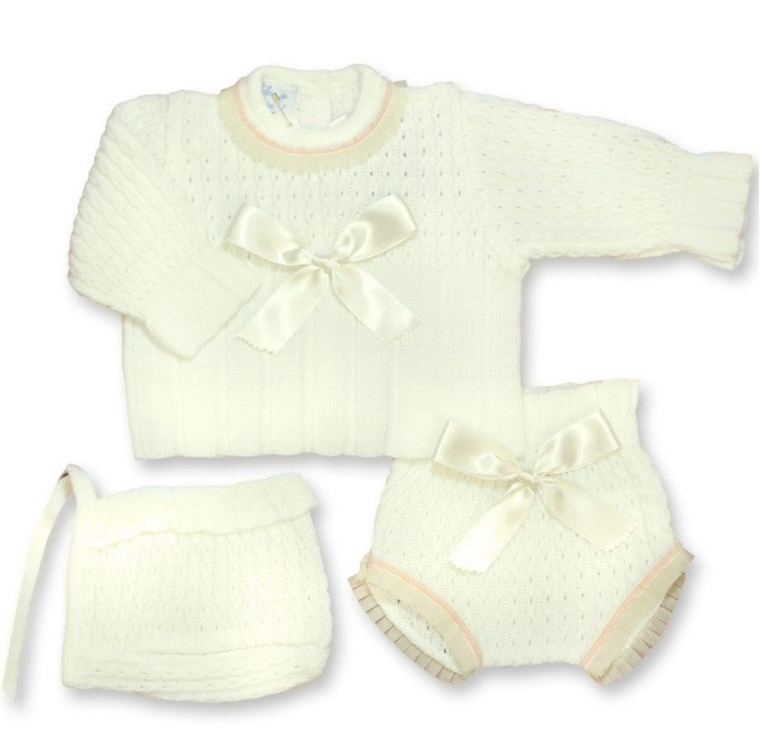 DULCE DE FRESA Winter Jumper With Bloomers and Bonnet