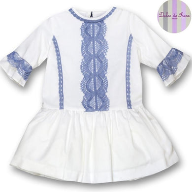 DULCE DE FRESA White dress with blue lace