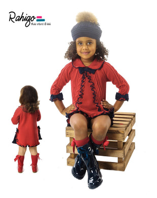 Rahigo Knitted Red Dress with Bows