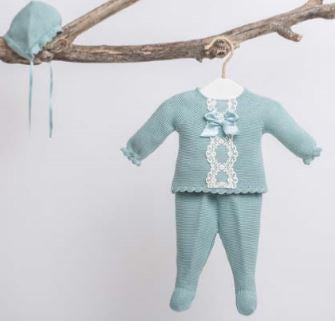 Unisex 3pcs knitted baby set mint