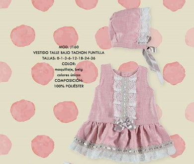 Dusty pink toddler dress with bonnet