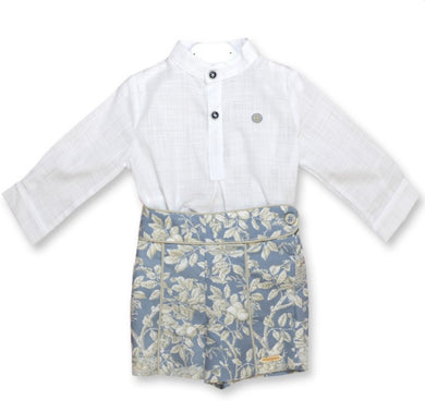 QUINPER Boys Shirt and Floral Shorts Set