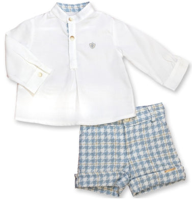 QUINPER Shirt and Shorts Set- Gingham Blue