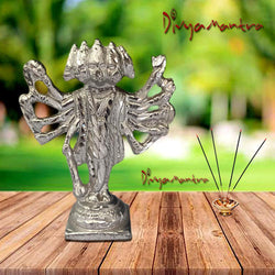 Divya Mantra Sri Hindu God Panchmukhi (Five Faced) Hanuman Idol Sculpture Statue Murti - Puja Room, Meditation, Prayer, Office, Business, Temple, Home Decor Lucky Gift Collection Item/Product - Silver
