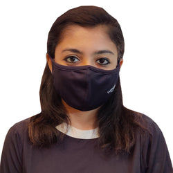 WOOP Face Mask, Washable Reusable Black Face Masks For Health Protection n Skin Care Unisex Mouth Filter Facemask, Soft Dri-Fit Handmade in India, Nose to Chin Mud & Pollution Dust Cover - SET OF 5