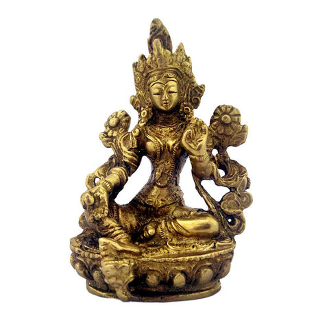 Divya Mantra Lady Buddha/Guan Yin/Kwan Yin/Tara Devi Goddess of Mercy and Compassion Sculpture Statue Murti Idol-Puja Room, Home Decor Gift Collection Item/Product-Money, Good Luck, Prosperity-Yellow