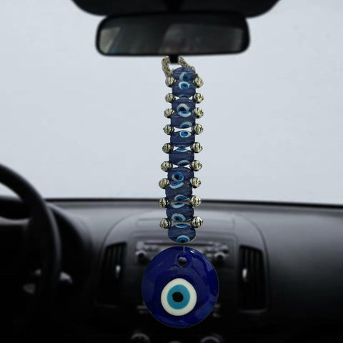 Divya Mantra Car Decoration Rear View Mirror Hanging Accessories Feng Shui Evil Eye with 10 Beads Hanging - Divya Mantra