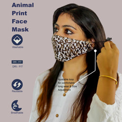 Face Mask, Washable Reusable Animal Print Face Masks For Health Protection n Skin Care Unisex Mouth Filter Facemask, Soft Dri-Fit Handmade in India, Nose to Chin Mud & Pollution Dust Cover - SET OF 5