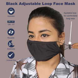 Face Mask, Washable Reusable Black Face Masks For Health Protection n Skin Care Unisex Mouth Filter Facemask, Soft Dri-Fit Handmade in India, Nose to Chin Mud & Pollution Dust Cover - SET OF 5 - Divya Mantra