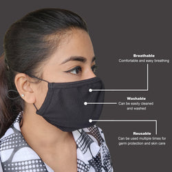 Face Mask, Washable Reusable Black Face Masks For Health Protection n Skin Care Unisex Mouth Filter Facemask, Soft Dri-Fit Handmade in India, Nose to Chin Mud & Pollution Dust Cover - SET OF 10