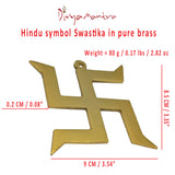 Divya Mantra Hindu Lucky Auspicious Symbol Swastika Pure Brass Wall Hanging For Vastu, Good Luck and Prosperity