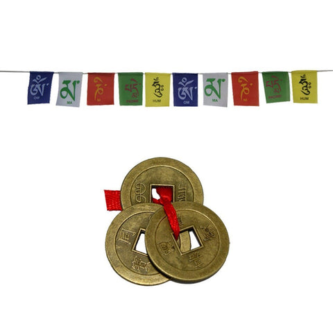 Divya Mantra Tibetan Buddhist Prayer Flag for Home & 1 Set of 3 Chinese Feng Shui Lucky Coins - Divya Mantra